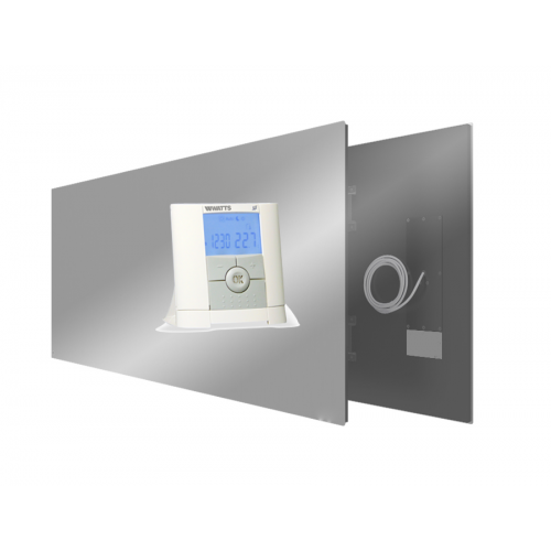 Qurrent Actie Ecaros 800 Watt spiegel paneel + programmeerbare thermostaat + ontvanger